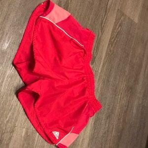 Pink adidas running shorts size m